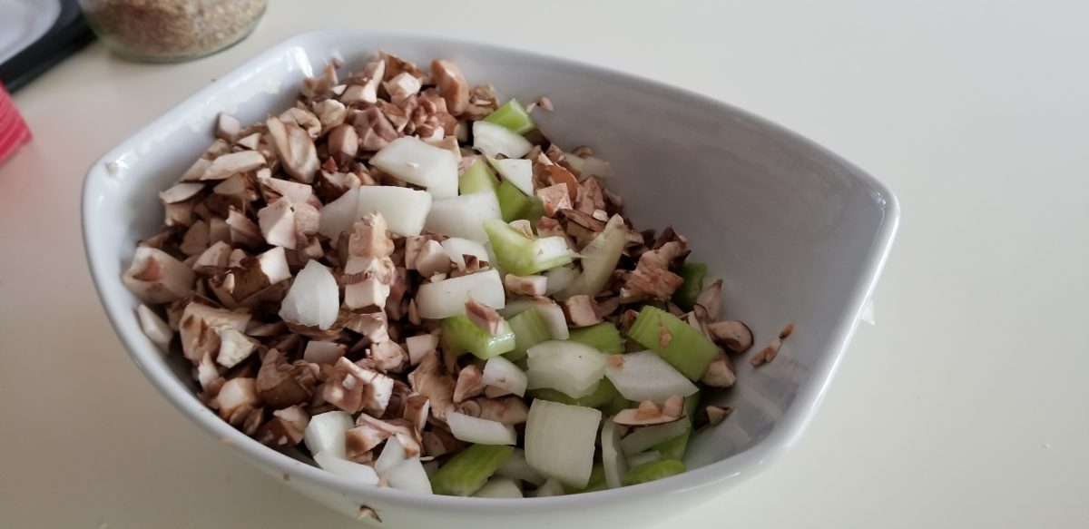 chopped mushrooms, celery, and onion