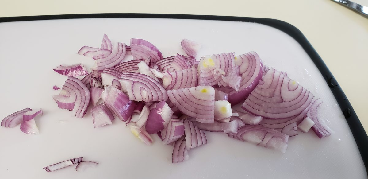 chopped red onion or purple onion