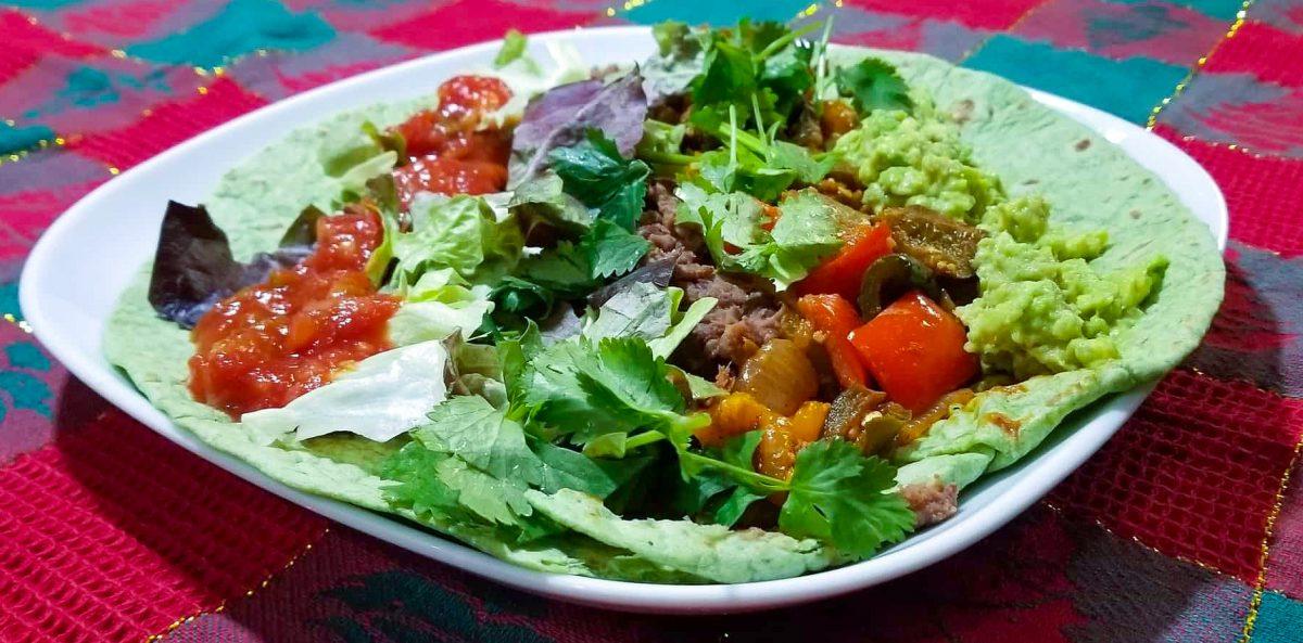 Plated Vegan Fajita Burrito