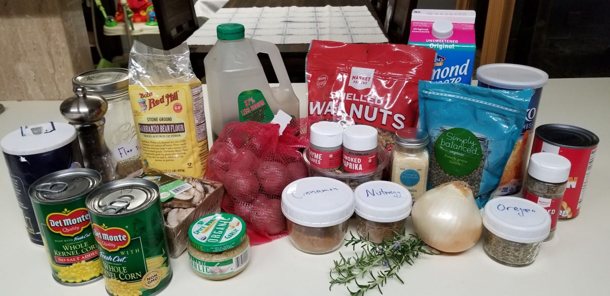 Ingredients for trim and neat shepherd's pie with vegan mince