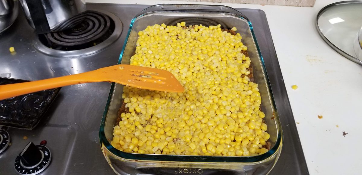 add corn to vegan shepherd's pie