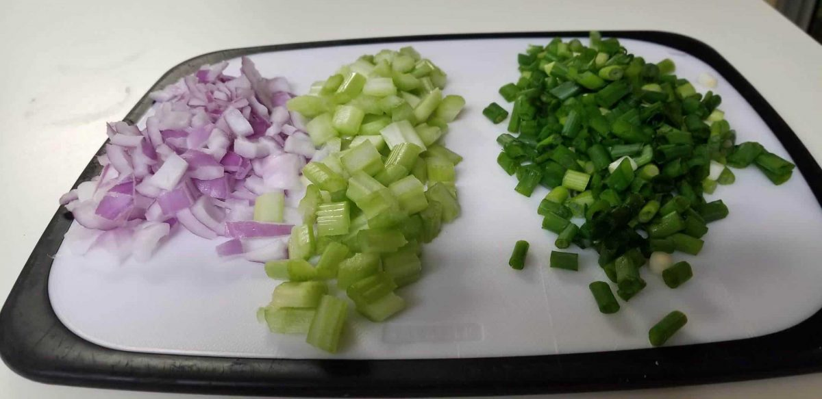 diced scallions, celery, and red onion