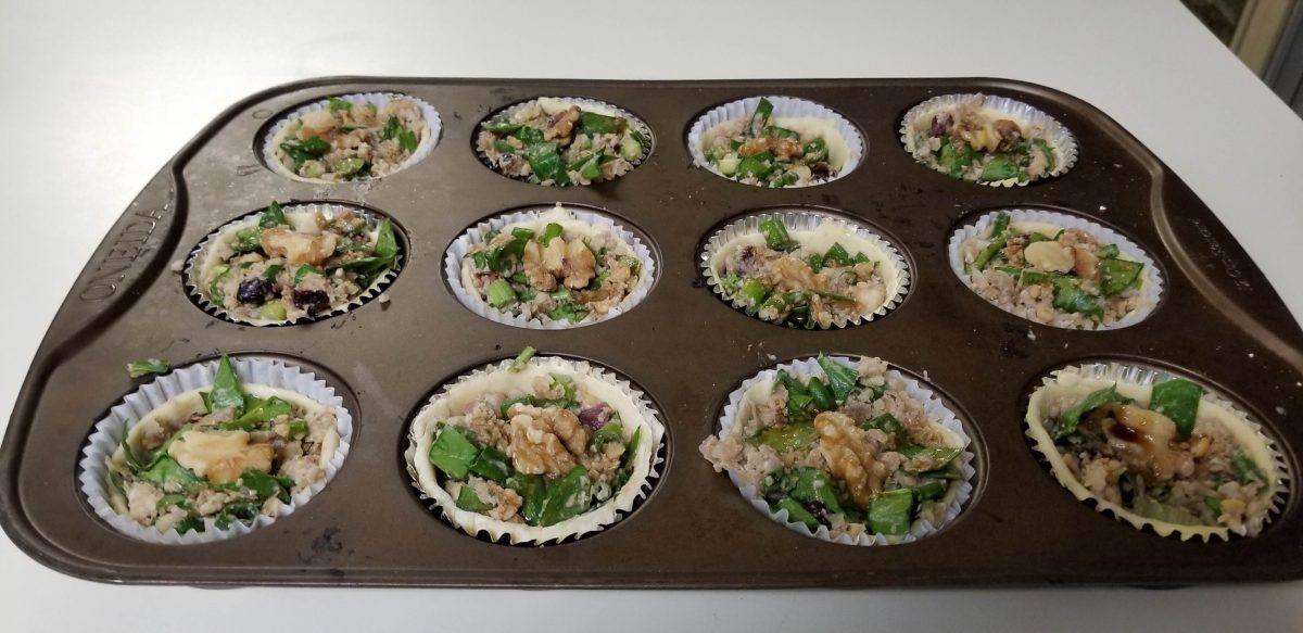 uncooked vegan chickpea tarts with green onions