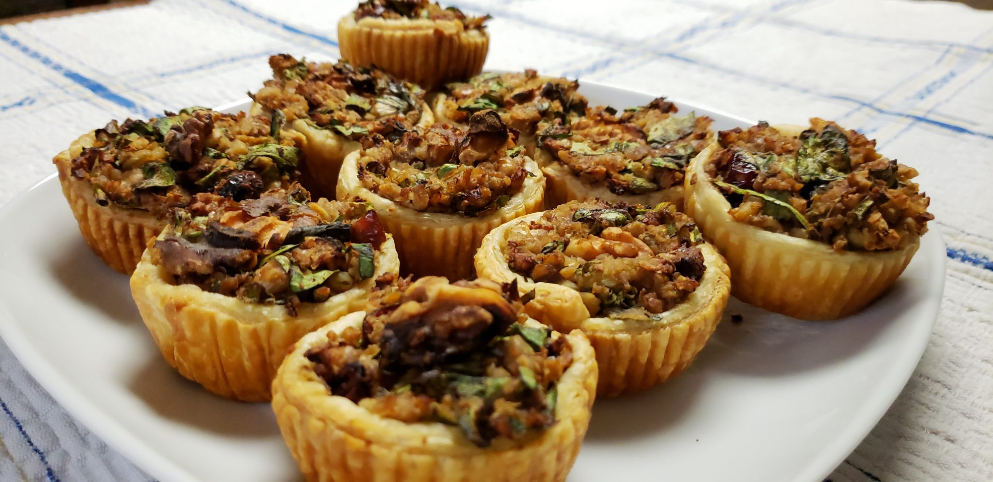 Savory vegan mini tarts with green onions