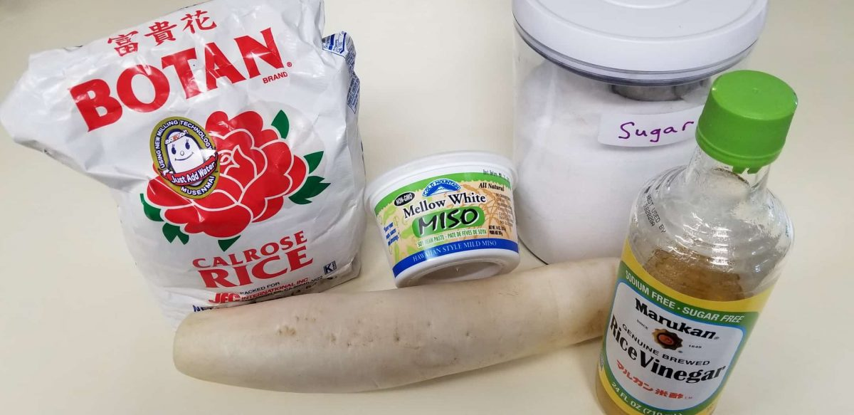 Ingredients for vegan furofuki Daikon