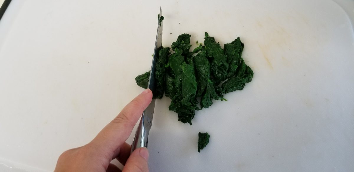 slice blanched greens