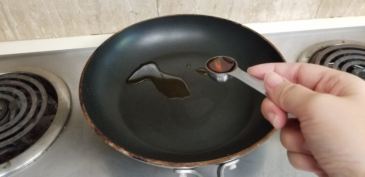 sesame oil on heating on a pan