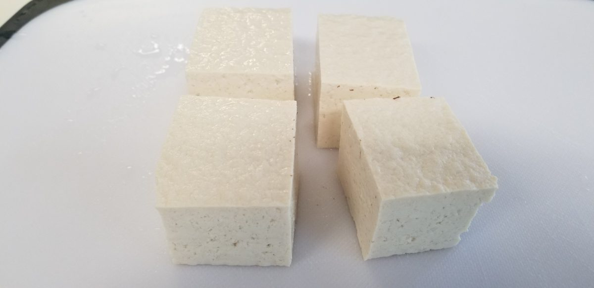 chop a block of tofu in four pieces