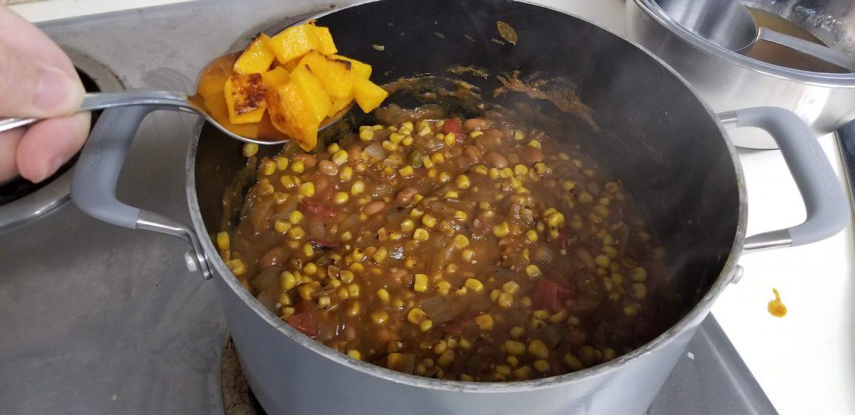 add butternut squash to the pumpkin chili