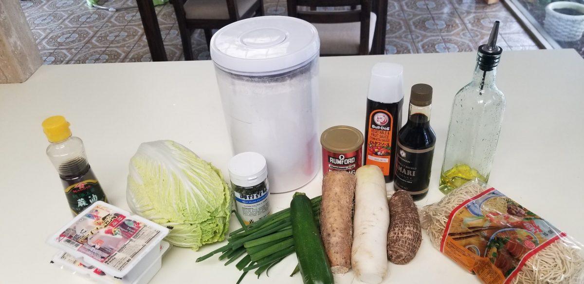 Ingredients for vegan okonomiyaki