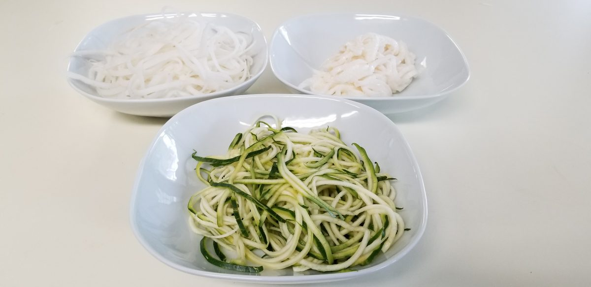 spiralized vegetables for vegan okonomiyaki