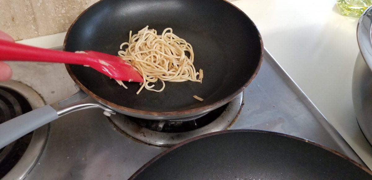pan heat the noodles