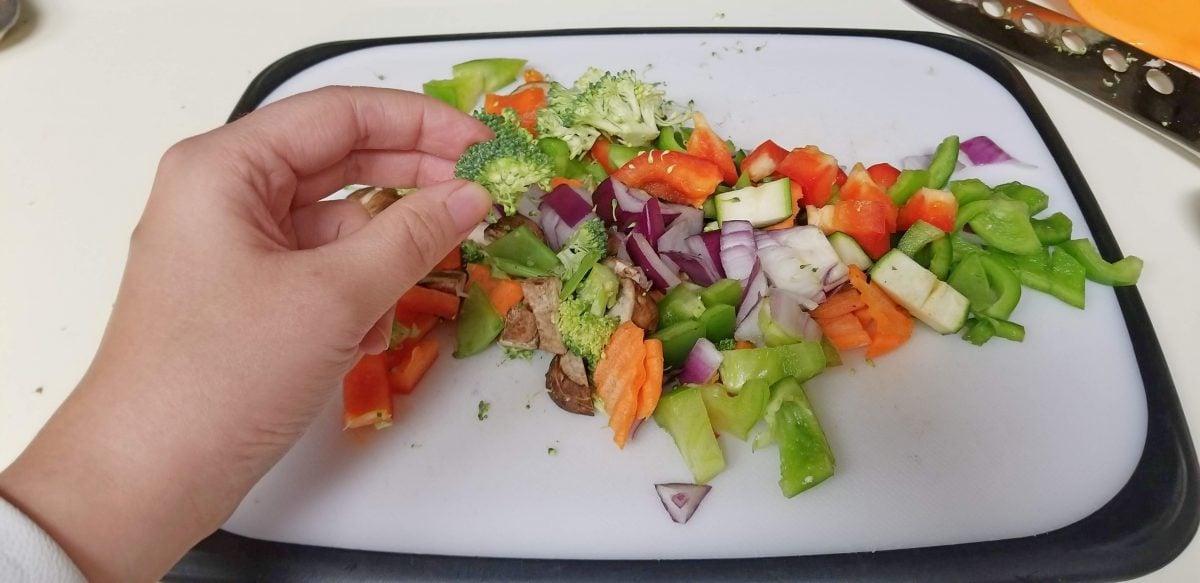 Chopped Vegetables for Vegan Falafel