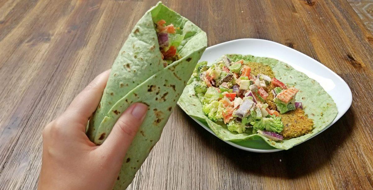 Eating Vegan Falafel Wrap