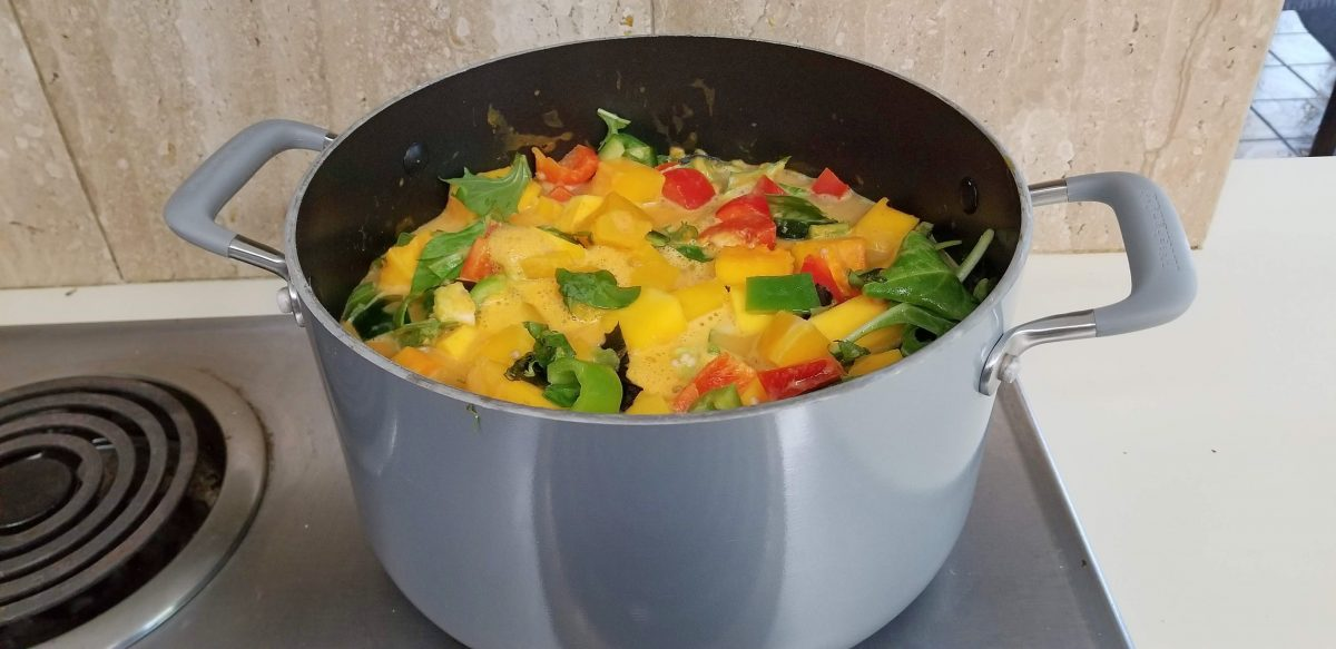 simmering vegan red thai pumpkin curry recipe
