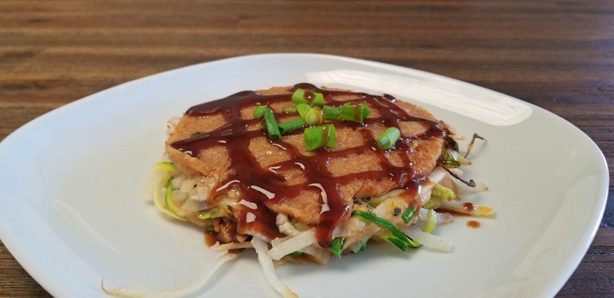 finished vegan okonomiyaki hiroshima style