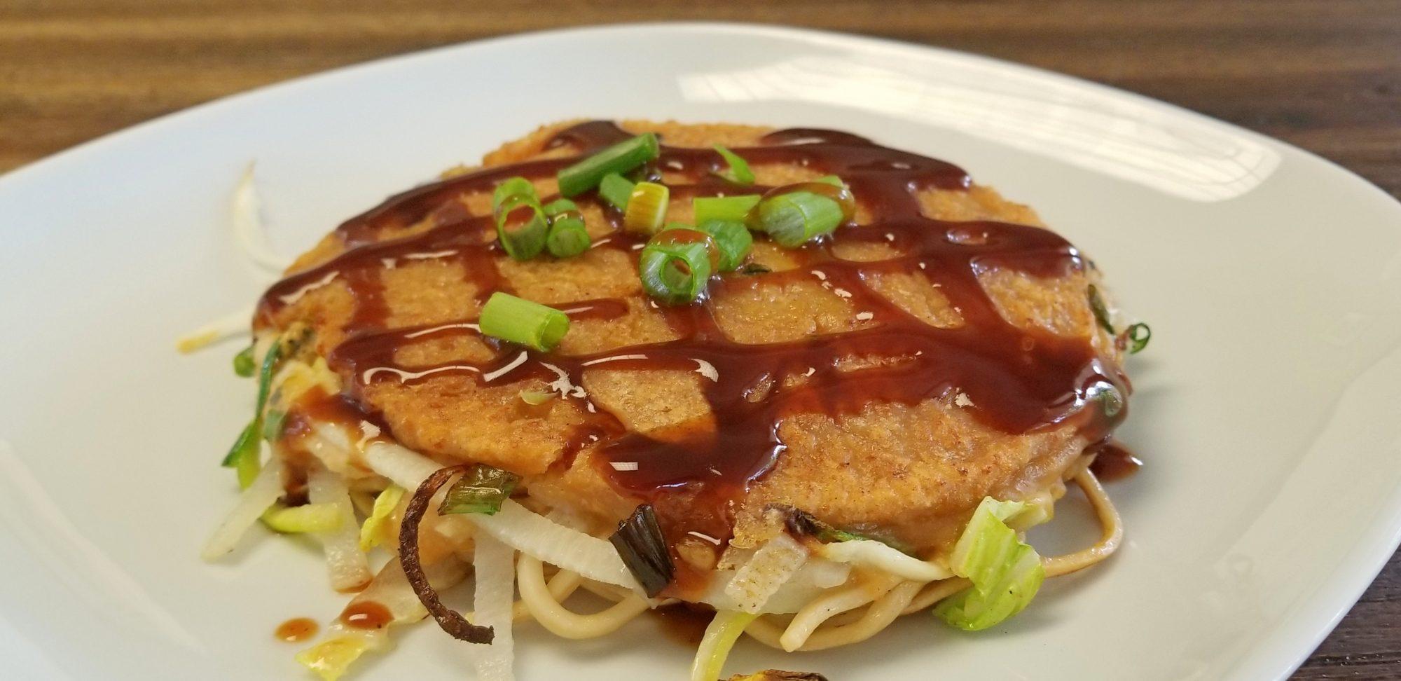 Finished Hiroshima style vegan okonomiyaki 広島風お好み焼き