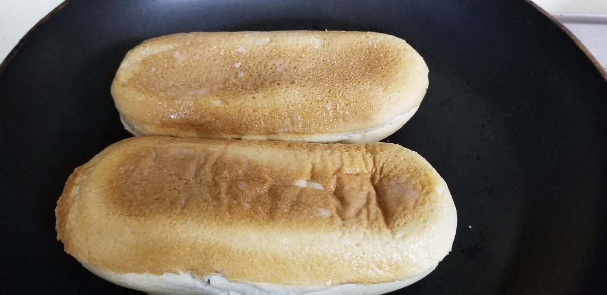 pan sear baguettes for vegan bahn mi