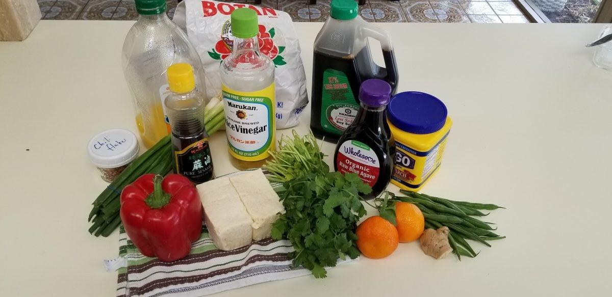 Ingredients for vegan orange chicken with tofu