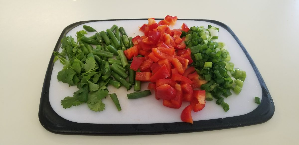 chopped cilantro, green beans, red pepper, and scallions