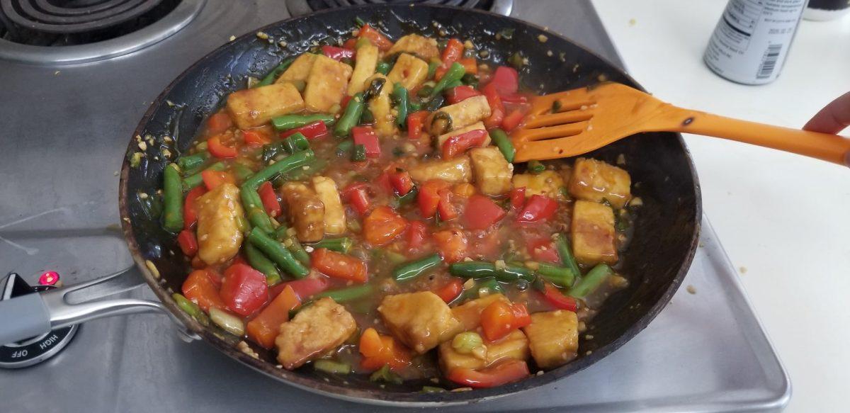 final stir fry for orange chicken