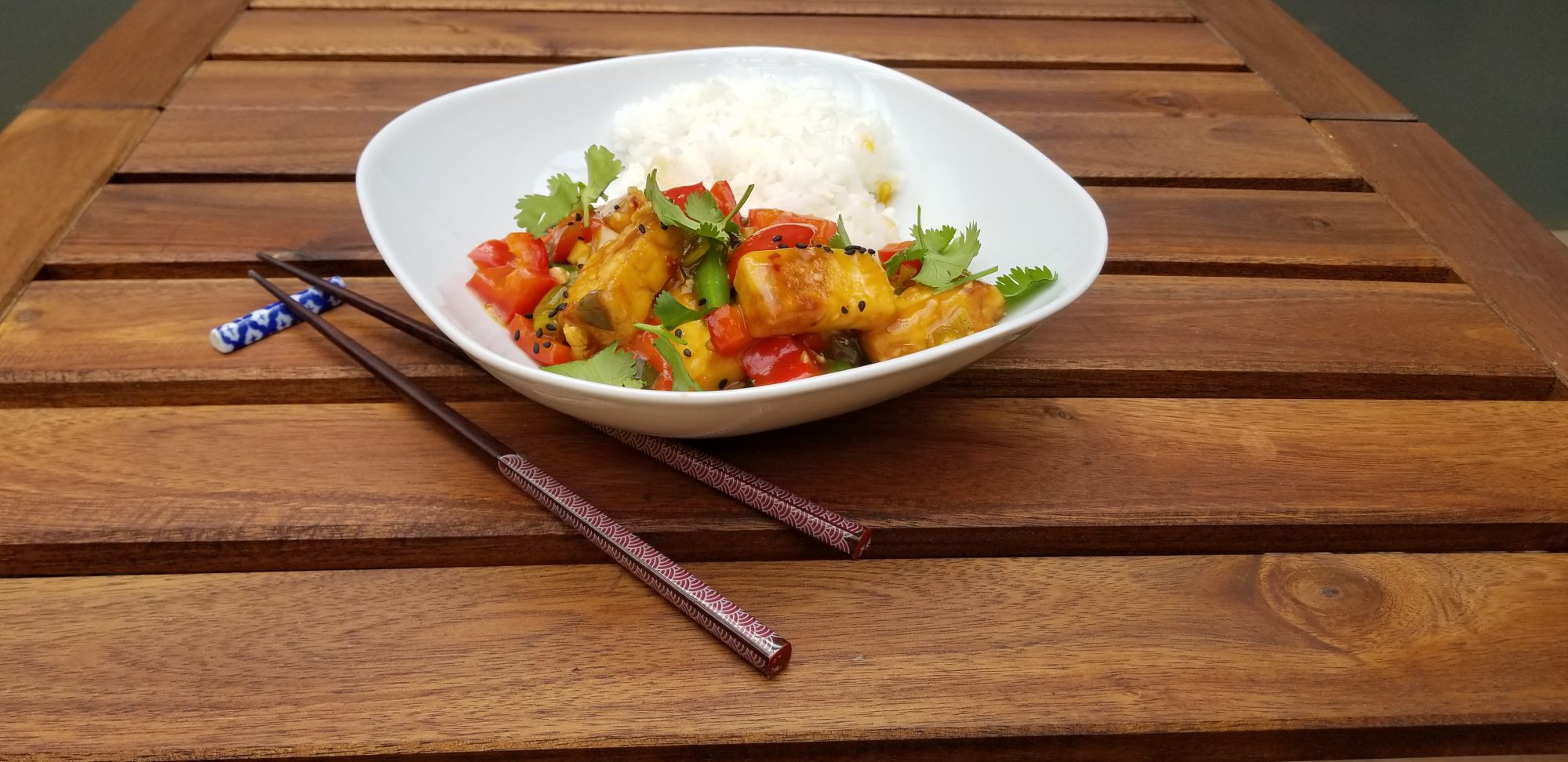 "Vegan orange ""chicken"" with tofu"