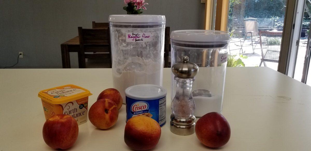 ingredients for nectarine pie with easy vegan pie crust