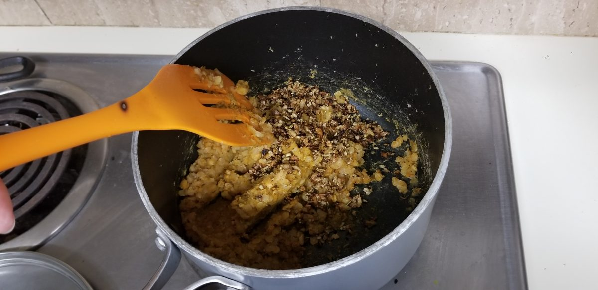 making lentil filling for vegan dal kachori