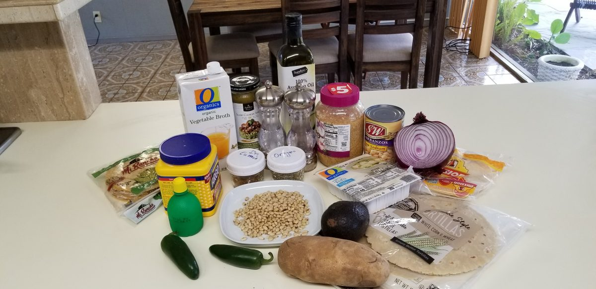 ingredients for potato chickpea vegan enchiladas with tomatillo sauce