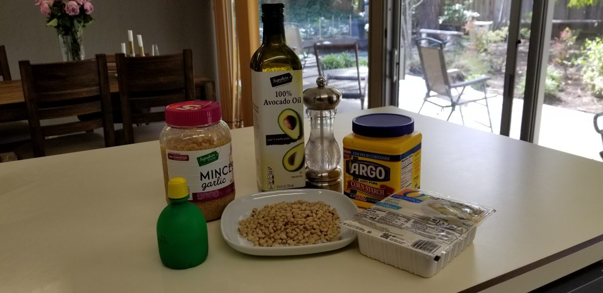 ingredients for vegan crema with pine nuts