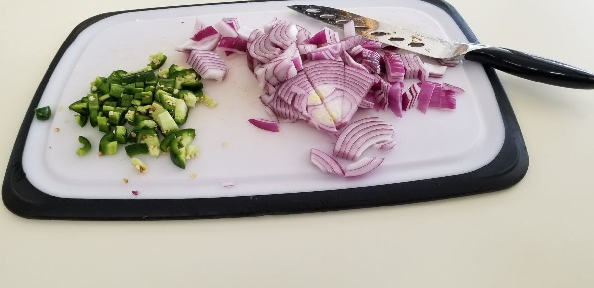 chopped jalapeños and red onion
