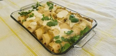 Potato-chickpea vegan enchiladas with tomatillo sauce