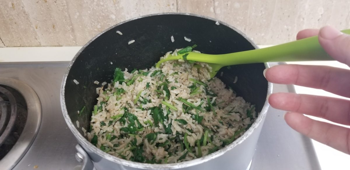 cilantro rice in the pot