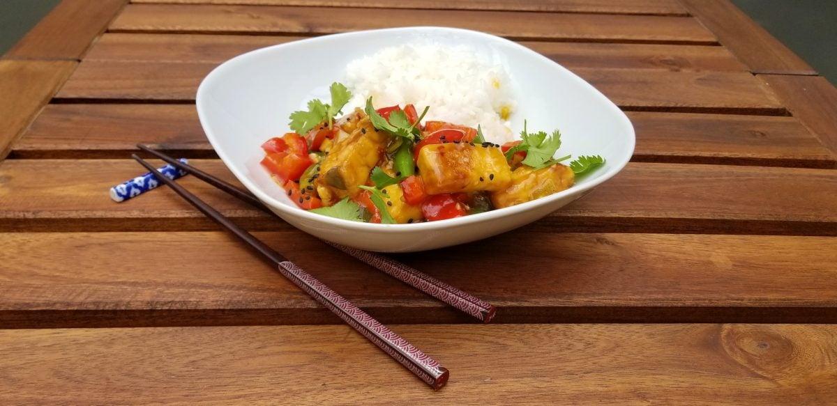Vegan Orange Chicken with Crispy Tofu