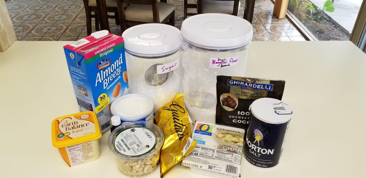 ingredients for chocolate vegan cheesecake