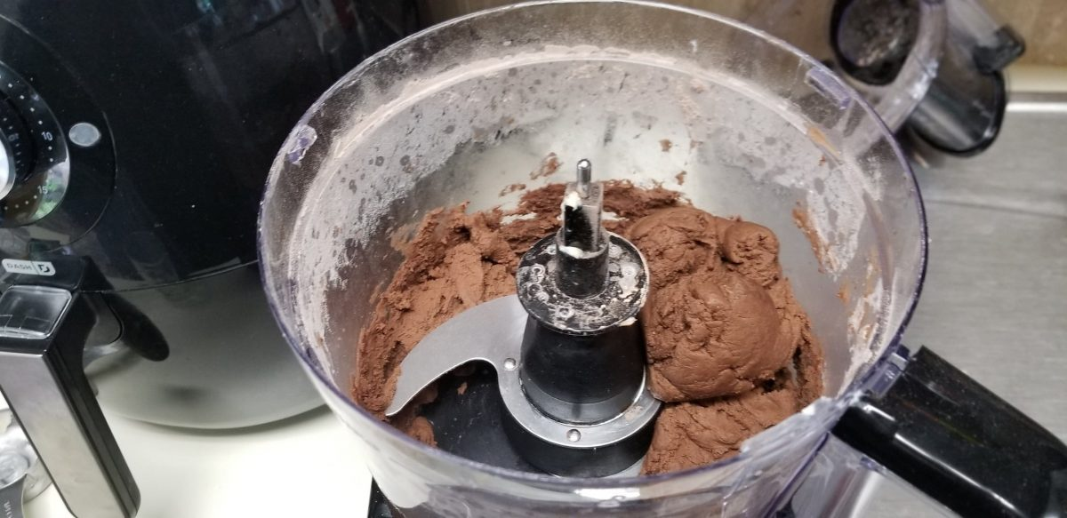 chocolate dough in food processor