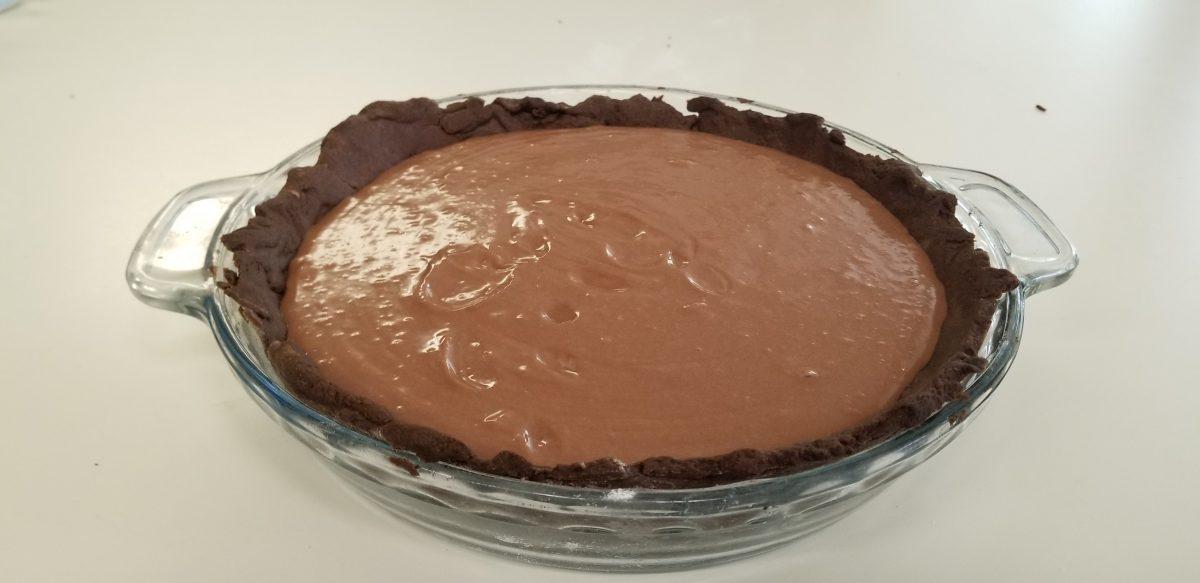 poured vegan cheesecake