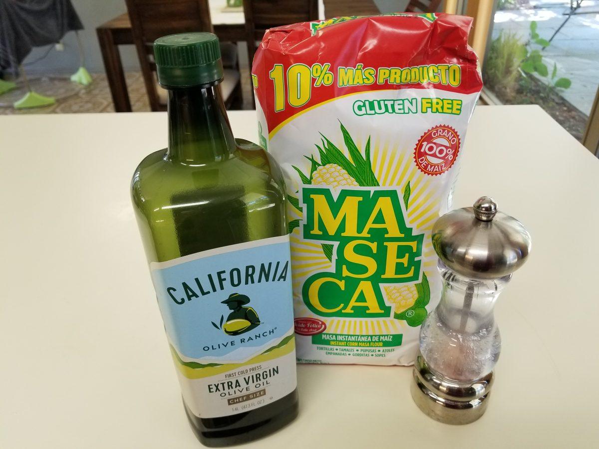 ingredients for quick corn vegan empanada dough