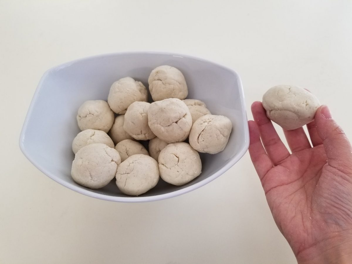 corn dough balls for vegan empanadas