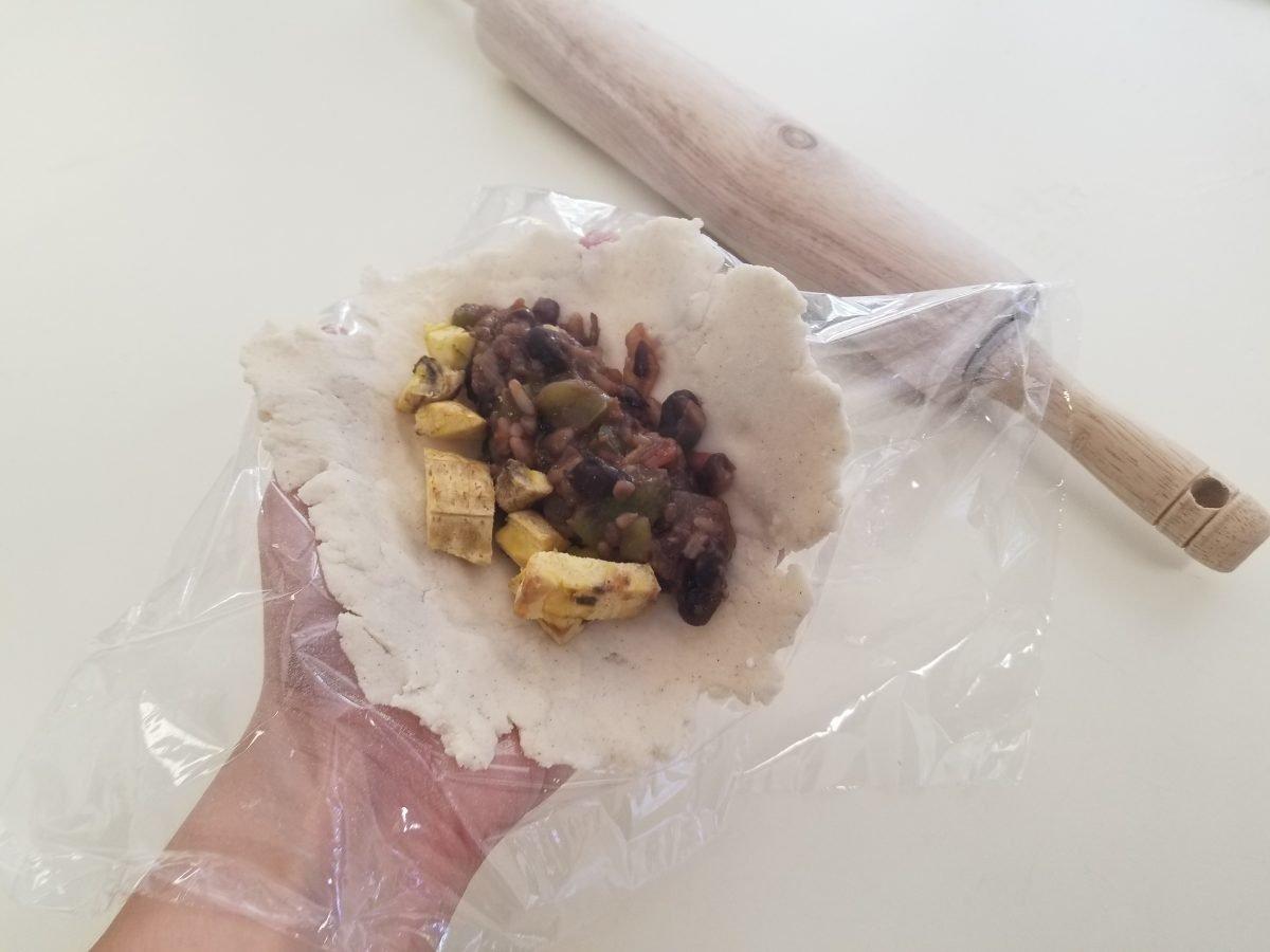 vegan empanada before folding