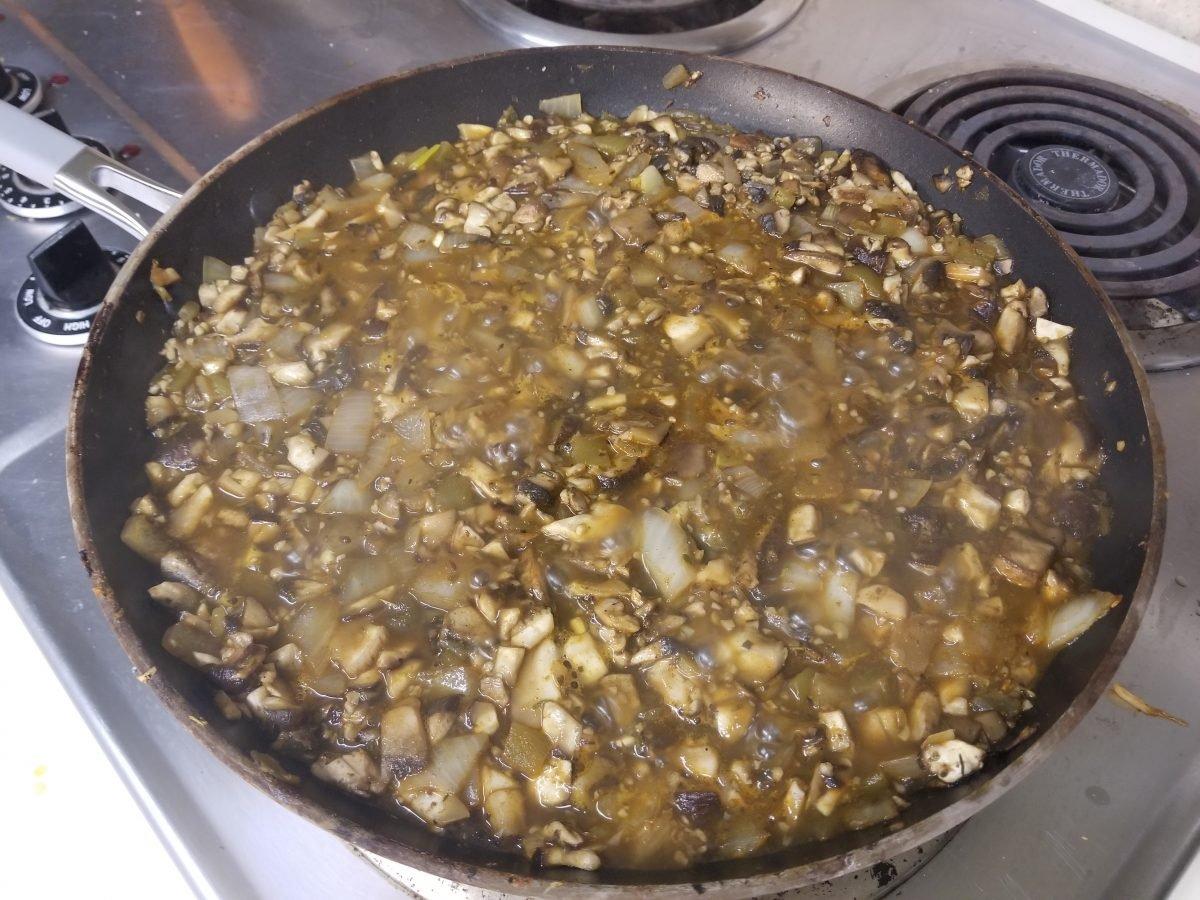 reducing the vegan empanada filling