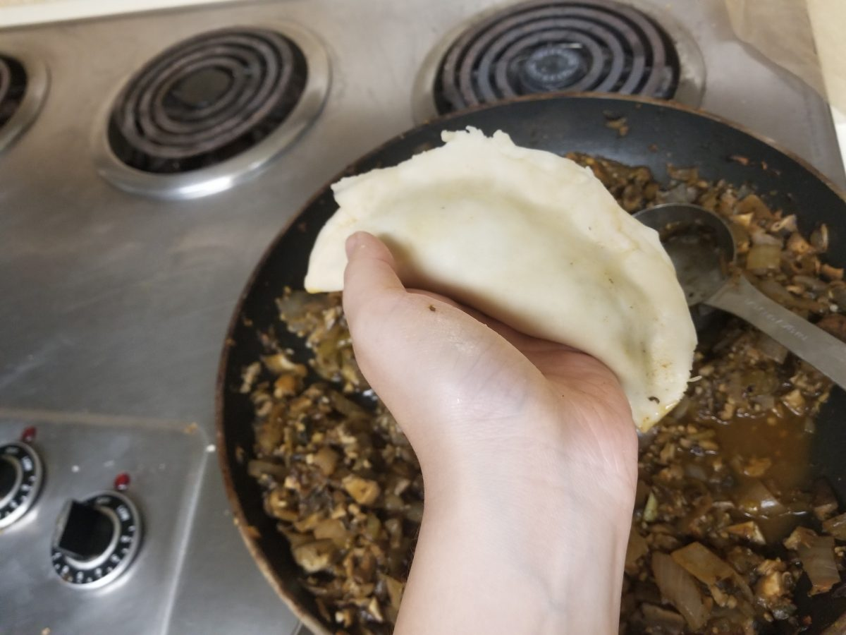 pinched vegan empanada