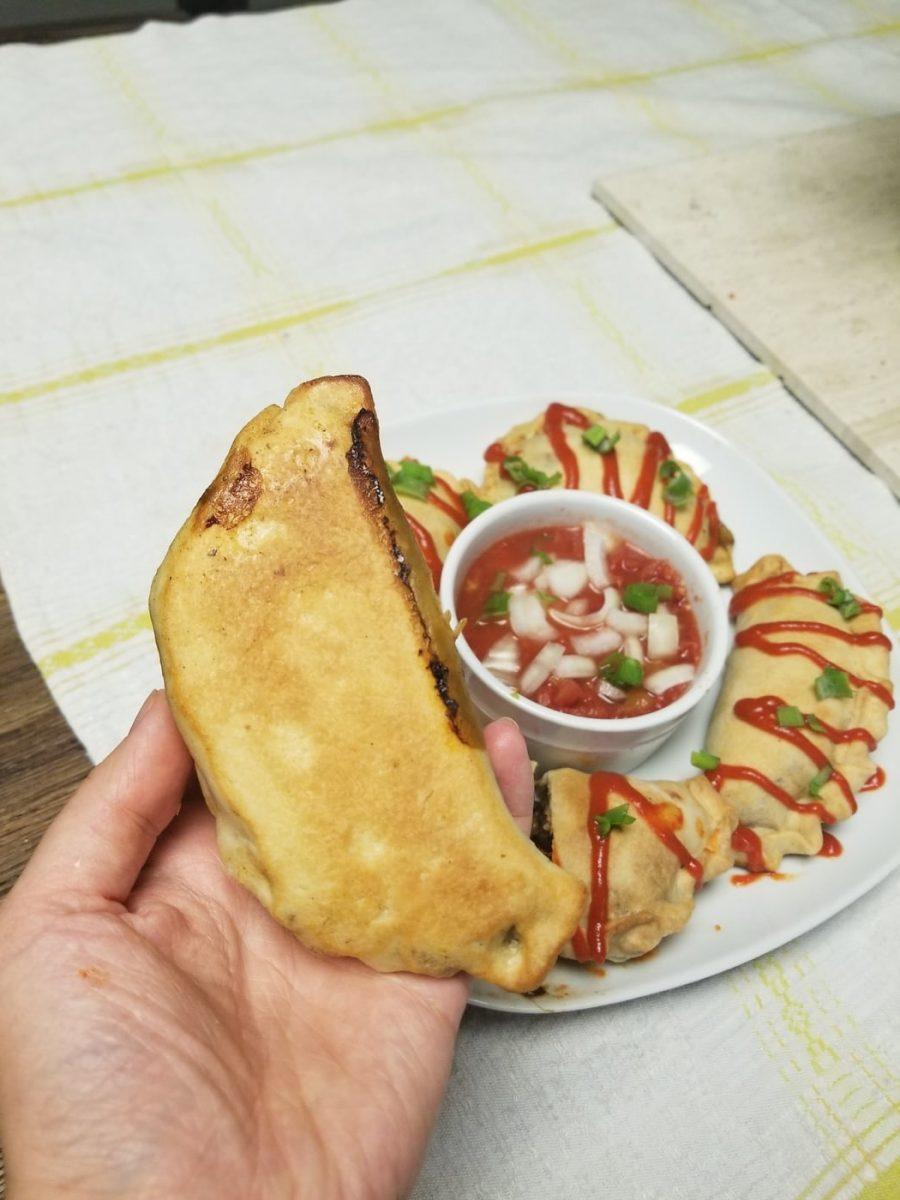 bottom of vegan empanada