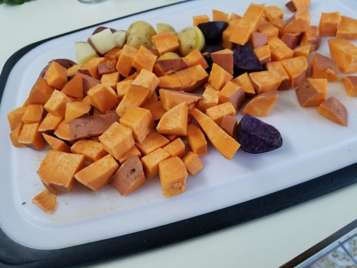 chopped sweet potatoes for vegan bisque