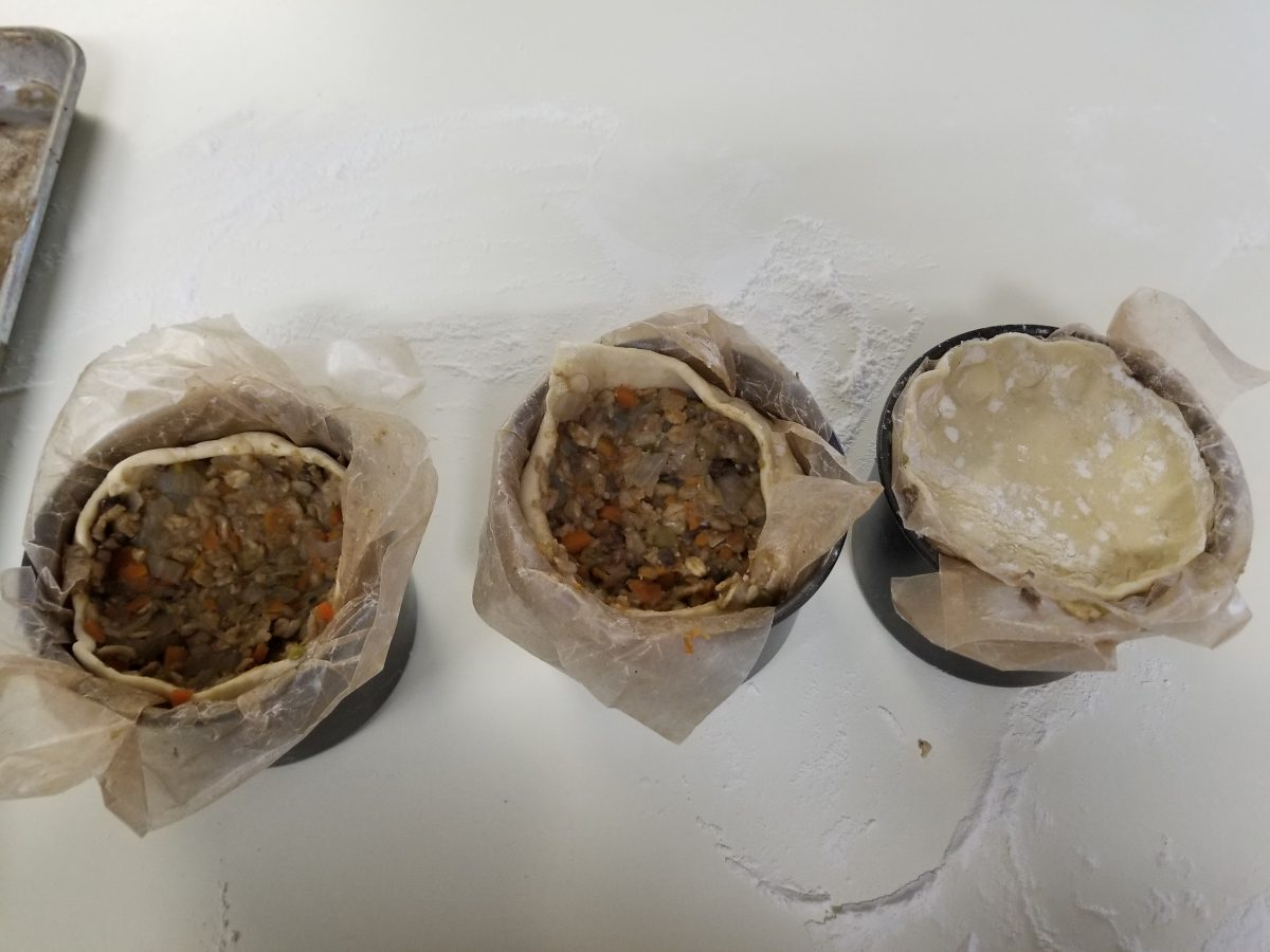 stuff the tins with filling for vegan haggis
