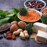 Vegan sources of protein (beans, lentils, spinach, tofu, nuts, quinoa)