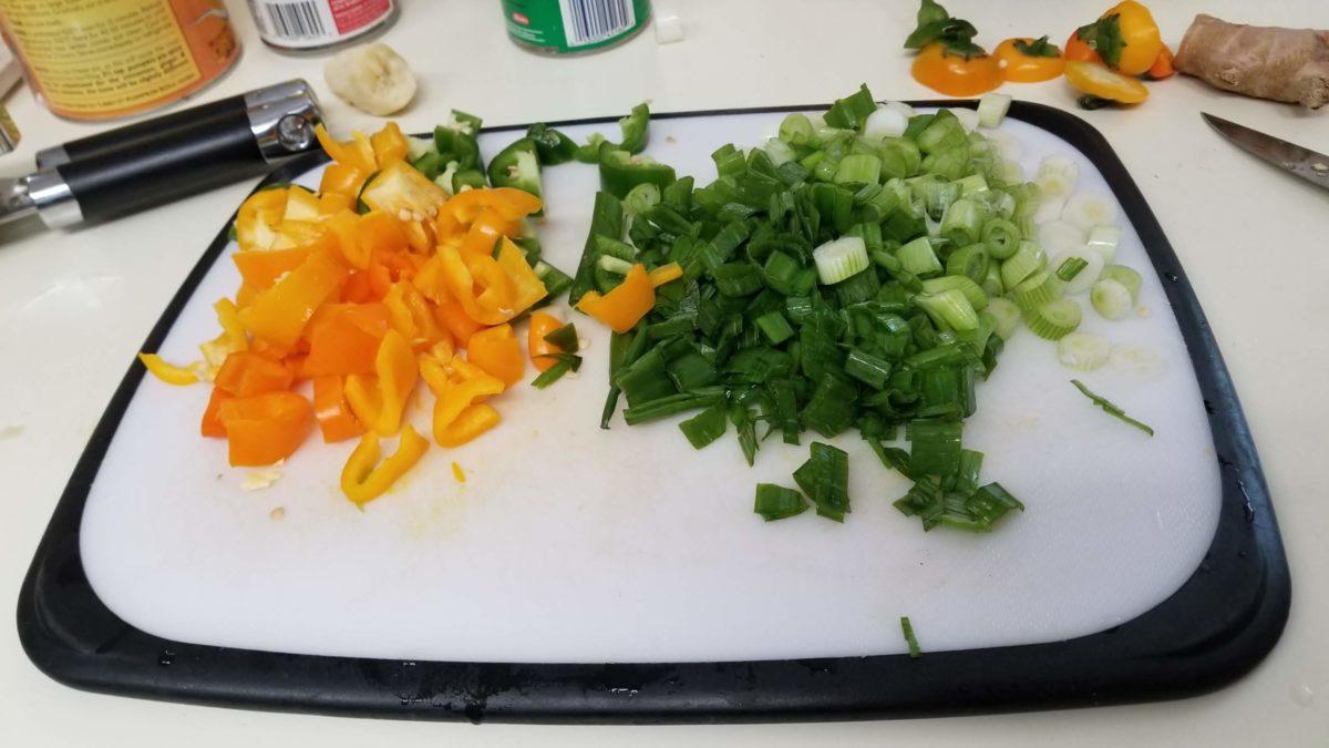 chopped scallions for vegan orange fried rice