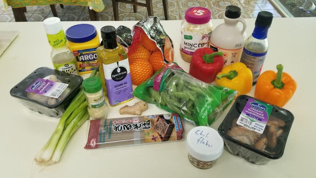 ingredients for vegan noodles with orange