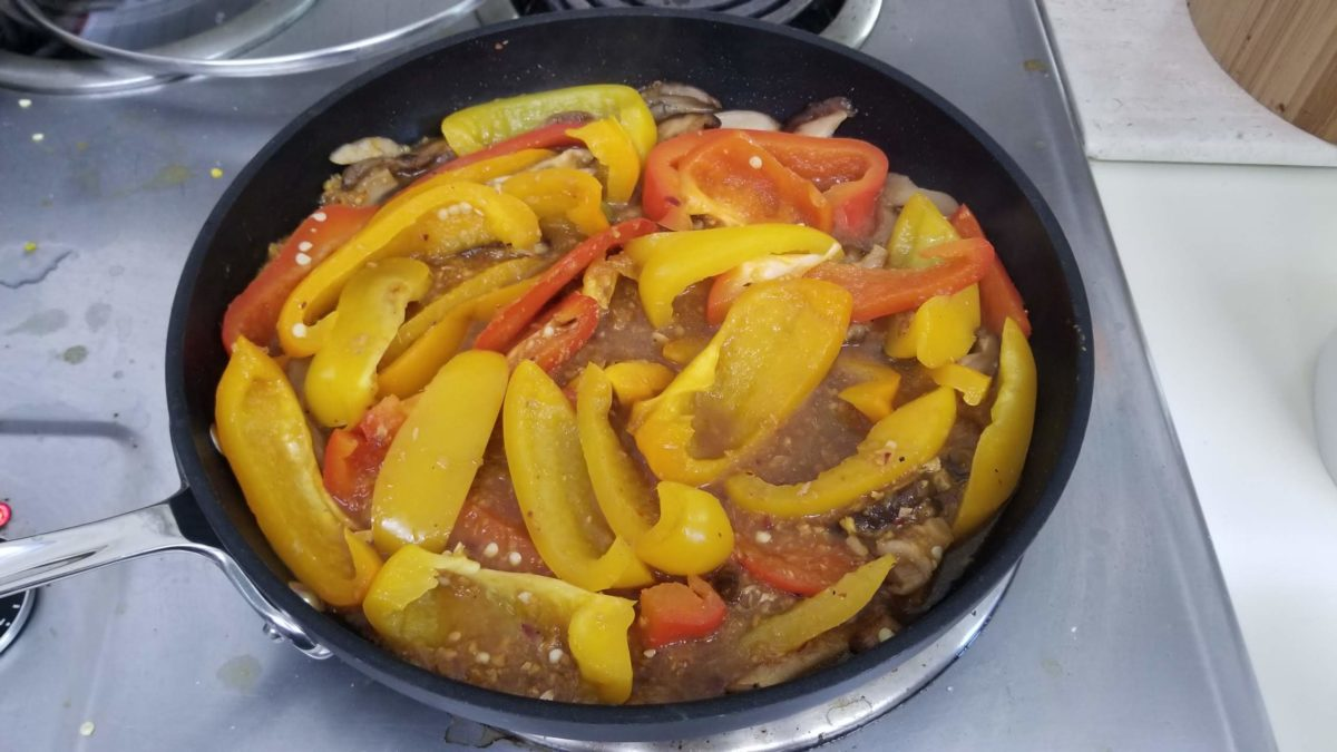 saute the peppers and spices for vegan recipe