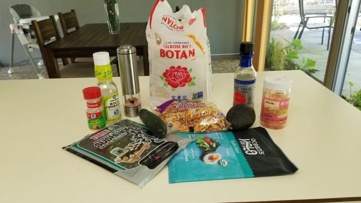 ingredients for vegan sushi roll ヴィーガン肉魚卵乳なし